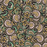 Teste padrão sem emenda de Paisley Teste padrão de flores de Paisley Paisley tirado mão Teste padrão do mehndi da hena Alinhador  Foto de Stock