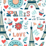 Teste padrão sem emenda de Paris Imagens de Stock