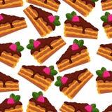 Teste padrão sem emenda de partes do bolo de chocolate com framboesas e folhas de hortelã ilustração stock