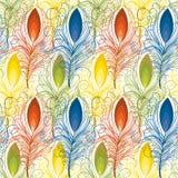 Teste padrão sem emenda de penas coloridas Fotos de Stock Royalty Free