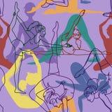 Teste padrão sem emenda de poses da ioga ilustração do vetor