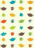 Teste padrão sem emenda de potenciômetros e de copos do chá Fotografia de Stock Royalty Free