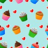 Teste padrão sem emenda de queques coloridos saborosos ilustração stock