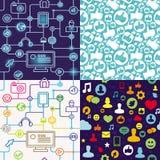 Teste padrão sem emenda de R com ícones sociais dos media Fotos de Stock Royalty Free