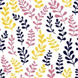 Teste padrão sem emenda de ramos decorativos com folhas ilustração stock