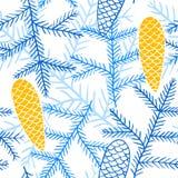 Teste padrão sem emenda de ramos e de cones do abeto Imagem de Stock Royalty Free