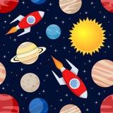 Teste padrão sem emenda de Rockets & de planetas Fotos de Stock Royalty Free