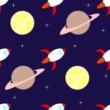 Teste padrão sem emenda de Rockets e de planetas Foto de Stock