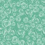 Teste padrão sem emenda de rosas diferentes, arranjado aleatoriamente em um fundo verde ilustração do vetor