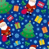 Teste padrão sem emenda de Santa, elementos do Natal da repetição, escuros - fundo azul ilustração stock