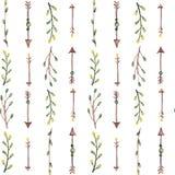Teste padrão sem emenda de setas e de ervas da aquarela Fotografia de Stock Royalty Free