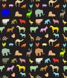 Teste padrão sem emenda de silhuetas dos animais Foto de Stock Royalty Free