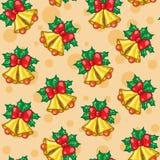 Teste padrão sem emenda de sinos de Natal com folhas Fotos de Stock Royalty Free