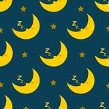 Teste padrão sem emenda de sono e ressonando da lua Fotografia de Stock Royalty Free