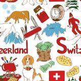 Teste padrão sem emenda de Suíça do esboço Imagens de Stock Royalty Free