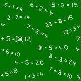 Teste padrão sem emenda de trabalhos de casa da matemática em um quadro-negro Fotografia de Stock Royalty Free