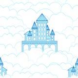 Teste padrão sem emenda de um castelo nas nuvens Imagens de Stock Royalty Free