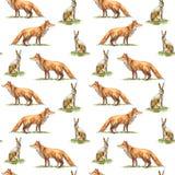 Teste padrão sem emenda de uma lebre e de uma raposa Animais da floresta Fotos de Stock