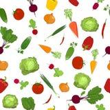 Teste padrão sem emenda de vegetais crus frescos Foto de Stock