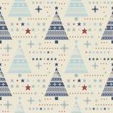 Teste padrão sem emenda decorativo com estrelas, árvores de Natal, snowfla Imagem de Stock Royalty Free