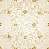 Teste padrão sem emenda decorativo com flores e as ondas pequenas. Imagem de Stock Royalty Free
