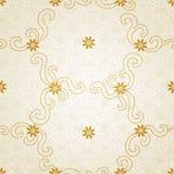 Teste padrão sem emenda decorativo com flores e as ondas pequenas. Fotos de Stock Royalty Free