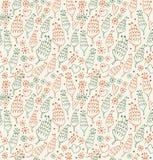 Teste padrão sem emenda decorativo com flores e fundo infinito para cópias, matéria têxtil da beleza dos corações, scrapbooking ilustração stock