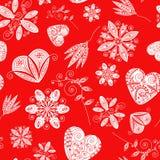 Teste padrão sem emenda decorativo com lote de corações e de flores dos Valentim Imagens de Stock Royalty Free