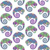 Teste padrão sem emenda decorativo dos camaleões. ilustração royalty free