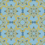 Teste padrão sem emenda decorativo Molde do vintage Fundo azul com elementos amarelos da curva Imagem de Stock