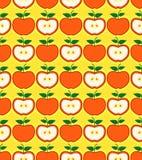 Teste padrão sem emenda denominado retro das maçãs vermelhas Foto de Stock