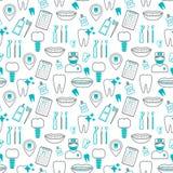 Teste padrão sem emenda dental Ícones lineares Projeto liso Vetor Fotografia de Stock Royalty Free