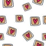 Teste padrão sem emenda desenhado à mão com corações Imagem de Stock Royalty Free