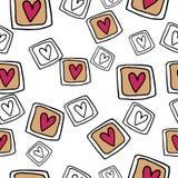 Teste padrão sem emenda desenhado à mão com corações Imagem de Stock