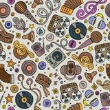 Teste padrão sem emenda desenhado à mão dos instrumentos musicais dos desenhos animados Imagem de Stock Royalty Free