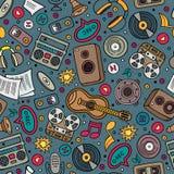 Teste padrão sem emenda desenhado à mão dos instrumentos musicais dos desenhos animados Fotografia de Stock Royalty Free