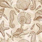 Teste padrão sem emenda desenhado mão do mar Fotos de Stock Royalty Free