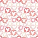 Teste padrão sem emenda desenhado mão dos corações Fotografia de Stock