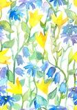 Teste padrão sem emenda - design floral pintado à mão ingênuo da aquarela Fotografia de Stock