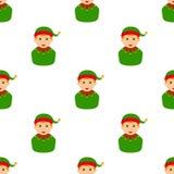 Teste padrão sem emenda do ícone do Avatar do duende do Natal Imagem de Stock Royalty Free