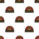 Teste padrão sem emenda do ícone liso da roleta do casino Fotos de Stock Royalty Free