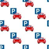 Teste padrão sem emenda do ícone liso do parque de estacionamento Fotos de Stock