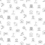 Teste padrão sem emenda do ícone preto e branco dos bens imobiliários Imagem de Stock Royalty Free