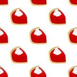 Teste padrão sem emenda do ícone vermelho da fatia da torta do bolo Fotos de Stock