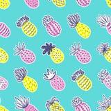 Teste padrão sem emenda do abacaxi Abacaxi Handdrawn com texturas diferentes nas cores pastel no fundo azul da cerceta exotic ilustração royalty free