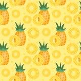 Teste padrão sem emenda do abacaxi O ananás corta o fundo infinito, textura Frutifica o fundo Ilustração do vetor Fotografia de Stock