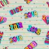 Teste padrão sem emenda do adolescente do vetor Projeto criativo do número do ano novo 2018 Projeto de cartão com tipografia 3d ilustração stock