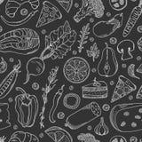 Teste padrão sem emenda do alimento Alimento tirado mão: vegetais, peixes, produtos de carne, especiarias e sobremesa no fundo pr ilustração do vetor