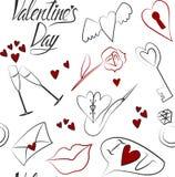 Teste padrão sem emenda do amor ao dia de Valentim no fundo branco ilustração do vetor