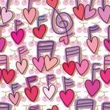 Teste padrão sem emenda do amor da cereja da música ilustração royalty free
